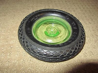 Vintage Goodyear Tire Ashtray Green Depression Glass Good Year