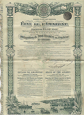 1906 UNITED STATES OF BRAZIL State of the Amazon GOLD BOND *Paying cancer bills