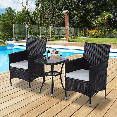 Outsunny 3pcs Rattan Coffee Set Garden Bistro Wicker Chair & Table Outdoor Patio