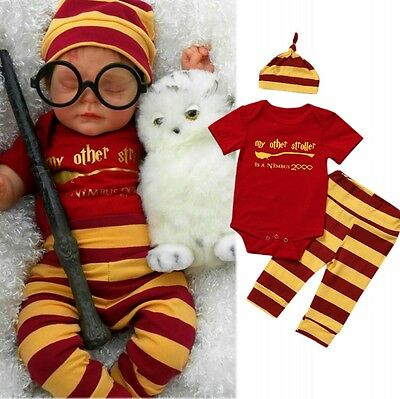 3PCS Set Newborn Toddler Baby Boys Harry Potter Clothes Romper Pants Hat Outfits