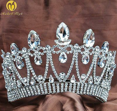 Miss Beauty Pageant Tiara Hair Crown Crystal Rhinestone Headband Bridal Prom New