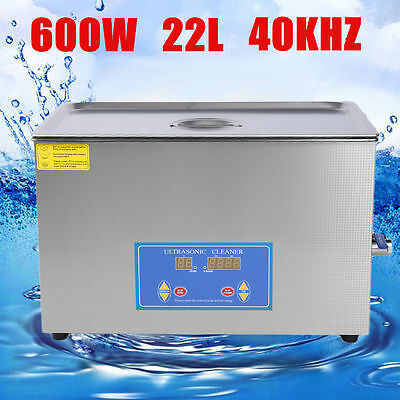 New Stainless Steel 22L Liter Industry Heated Ultrasonic Cleaner Heater Timer ZN