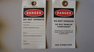 Danger Lockout / Lock Out Tags Do Not Operate Pack of 10