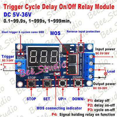 DC5-36V LED Display Trigger Cycle Delay on/Off Relay Module Switch Multifunction