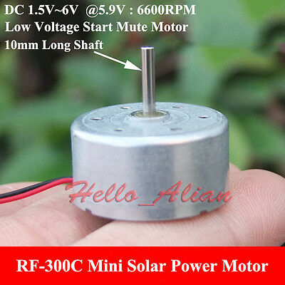Micro RF-300C Solar Power Motor DC1.5V-6V 5.9V 6600RPM Low Voltage Long Shaft