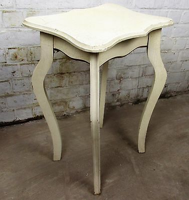 French Provincial White Crackled Table Side Table Lovely