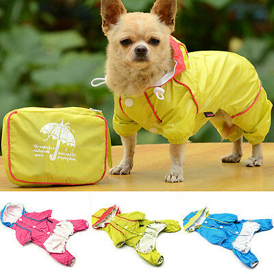 Pet Dog Waterproof Hoodie Jacket Raincoat Puppy Cat Coat Costume Clothes Apparel