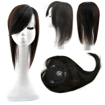 Women 60g 16inch Long Human Hair Topper Hairpiece Toupee Oblique Bang Half  Wig