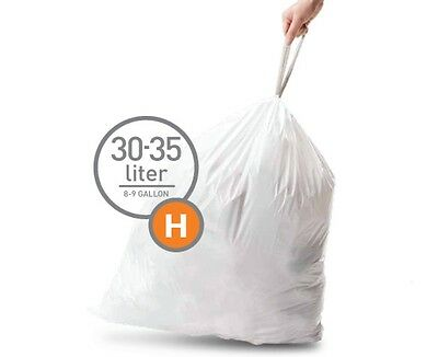 Simplehuman Bin Liners 20 Bags 30-35 Litre Code H  (30-35 litres)
