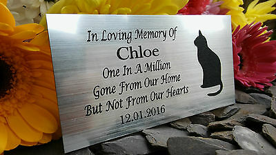 Personalised Engraved Pet Memorial Plaque Cat Silhouette Silver 10X5Cm (A15)