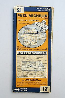 Vintage French Michelin Map of Bassel St. Gallen Nr. 21 Switzerland France 1940s
