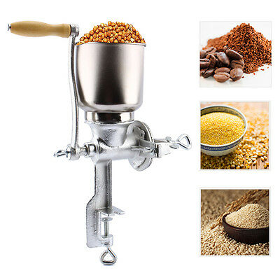 Manual Silver Corn Wheat Mill Kitchen Grinder Iron Big Hopper Grain For Home Use
