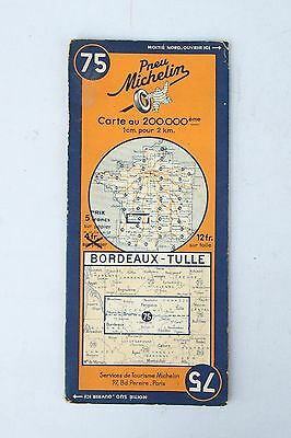 Vintage French Michelin Map of Bordeaux - Tulle Nr. 75  France 1940s