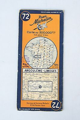 Vintage French Michelin Map of Angouleme - Limoges Nr. 72  France 1940s
