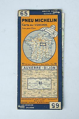 Vintage French Michelin Map of Auxerre - Dijon Nr. 65  France 1940s