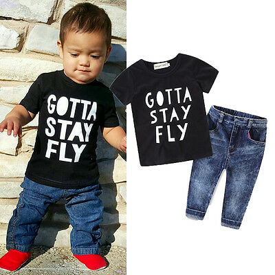 2pcs kids baby Boy Clothes T Shirt Tops + Jeans Denim Long Pants Set Outfits