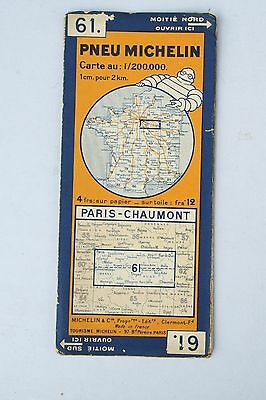 Vintage French Michelin Map of Paris - Chaumont Nr. 61  France 1940s