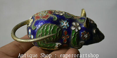 "4"" Old Chinese Cloisonne Copper Zodiac Year Mouse Rat Animal Statue Statuary"
