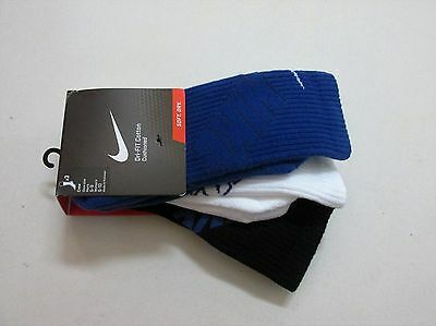 Nike Dri-Fit Cotton Cushioned Athletic Crew Socks Size Med  3-Pair New