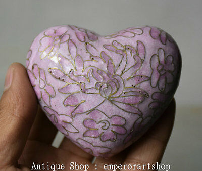 "3.2"" Rare Old Chinese Cloisonne Copper Pink Heart-shaped Jar Jur Pot Crock Box"