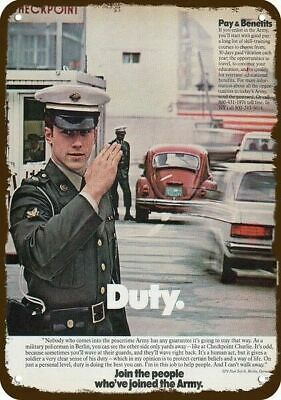 1979 U.S. ARMY Vintage Look Replica Metal Sign - MP POLICE at CHECKPOINT CHARLIE