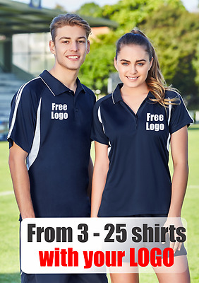 From 3 - 25 shirts Men Flash Polo with Your Embroidered LOGO (Biz P3010)