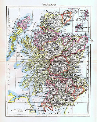 Scotland Map 1892 Antique Great Britain British Isles Europe History Wall Decor