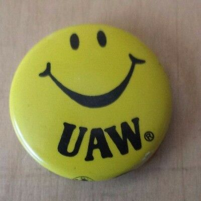 UAW Yellow Happy Face Smiley Face Smile Button Hat Lapel Pin