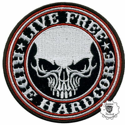 LIVE FREE RIDE HARDCORE -  Patch Aufnäher Biker Rocker Vintage Old School