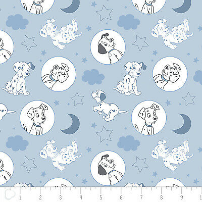 Disney 101 Dalmatians Puppy Dogs Faces Light Grey 100/% Cotton fabric by the yard