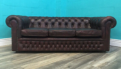 Vintage Old Superior Quality Leather Maroon Three Seater Chesterfield Sofa
