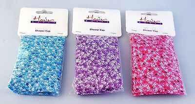 Hairworks Shower Cap Cotton Patterned - Hat Hair Cover - Blue, Purple or Pink