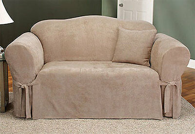 Sure Fit Soft Suede Sofa Slipcover In Taupe For Box Style Seat