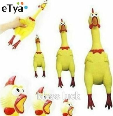 Pet Dog love Toy Mini Screaming Rubber Chicken Squeaker Chew Gift 17CM HGPP016