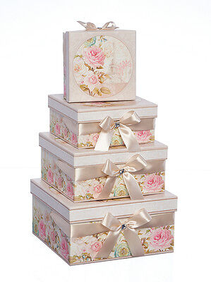 Square Parisian Pink Floral Luxury Gift Box - Small/Medium/Large/Extra Large
