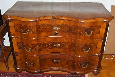 Fine German Rare Baroque 18th Century Parquetry Walnut Commode
