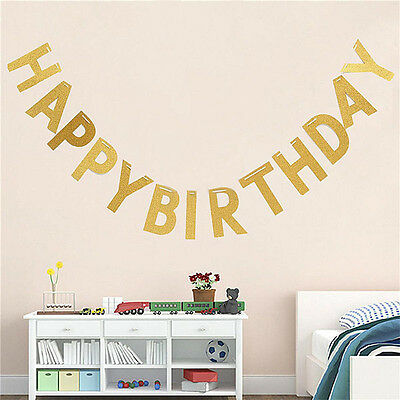"3M Gold ""Happy Birthday"" Letters Banner Bunting Baby Shower Party Supplies Decor"