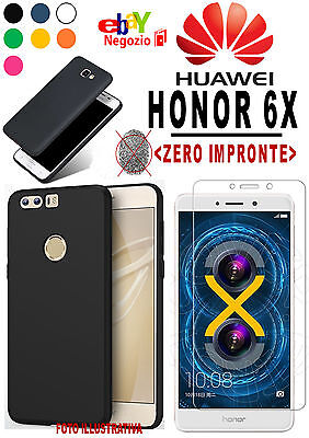 CUSTODIA CASE COVER TPU ULTRA SLIM OPACA per HUAWEI HONOR 6X + VETRO