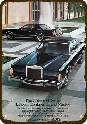 1979 LINCOLN CONTINENTAL & MARK V Luxury Car Vintage Look Replica Metal Sign