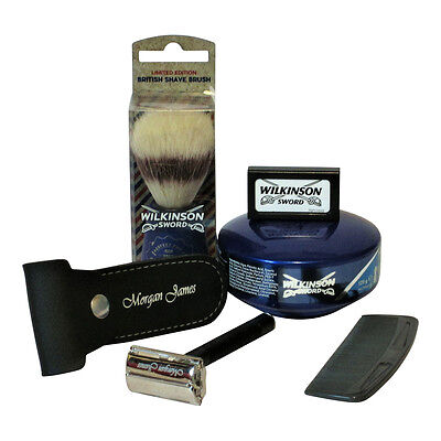 Morgan James Butterfly Safety Razor With Wilkinson Shaving Kit