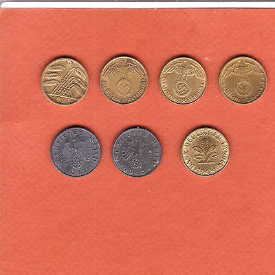 c275   Germany, seven 5-pfennig coins, 1925 to 1949
