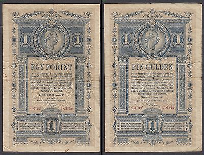 Austria 1 Forint on Gulden 1882 (VG-F) Condition Banknote Hungary P-A153