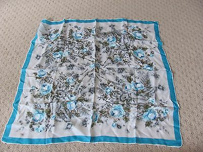 VINTAGE Silk FLORAL Scarf -Light Blue Flowers - Made in Japan