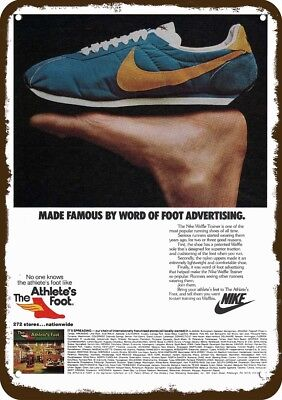1979 NIKE WAFFLE TRAINER SHOE Vintage Look REPLICA METAL SIGN THE ATHLETES FOOT