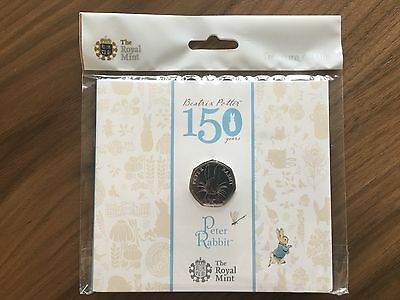 Peter Rabbit 2016 The Royal Mint UK 50p Brilliant Uncirculated Coin