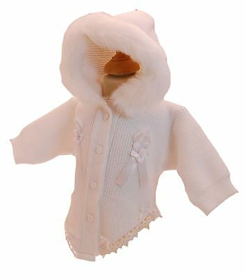 Pex Fancy Cardigan With Hood Trimed With Fur Ideal For Weddings Christenings