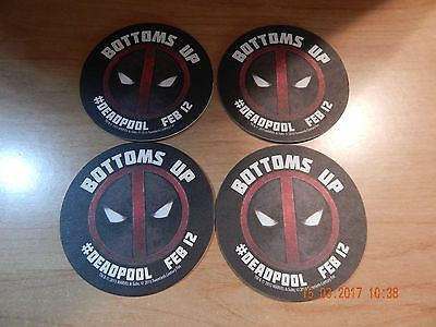 Deadpool Official Movie Coasters February 12Th Bottoms Up Set Of 4 New 3 1/2""