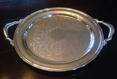 """Oneida Silverplate USA 14.5"""" Round Serving Tray with Handles Exc. Condition!"""