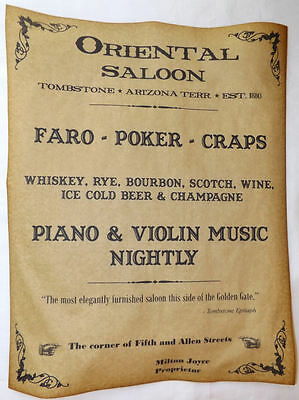 Oriental Saloon Ad Poster, Tombstone, Arizona, old west, western, wanted