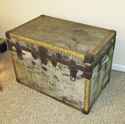 Vintage 1910's Large Antique Trunk Chest Footlocker Riveted Wooden Steampunk
